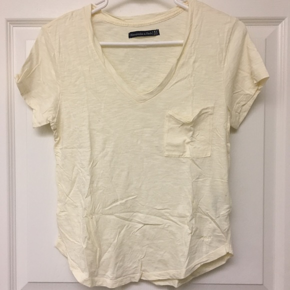 Abercrombie & Fitch Tops - BASIC YELLOW V-NECK TEE